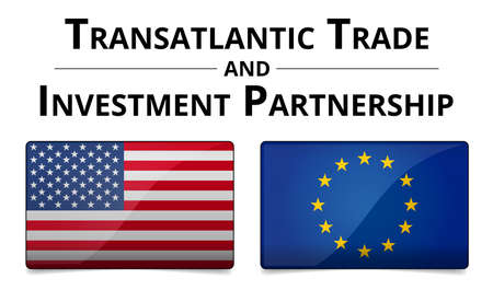 TTIP - Transatlantic Trade and Investment Partnership glossy illustration with shadow on white background