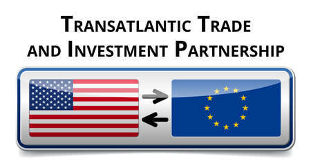 TTIP - Transatlantic Trade and Investment Partnership glossy illustration with shadow on white background Stock Vector - 29881762