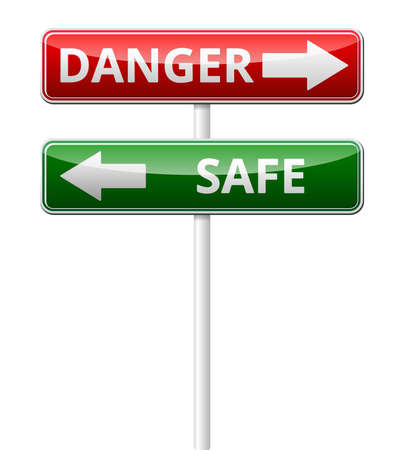Danger Safe traffic sign with reflection isolated on white background Vector