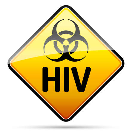 epidemy: HIV Biohazard virus danger sign with reflect and shadow on white background. Isolated warning symbol. Illustration