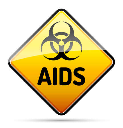 AIDS HIV Biohazard virus danger sign with reflect and shadow on white background. Isolated warning symbol. Vector