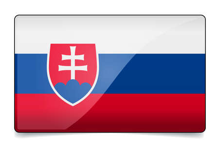 Slovakia flag button with reflection and shadow. Isolated glossy flag. Ilustrace