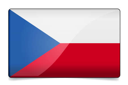 Czech republic flag button with reflection and shadow. Isolated glossy flag.