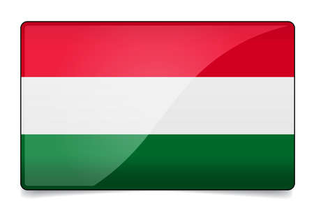 Hungary flag button with reflection and shadow. Isolated glossy flag. Illustration
