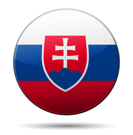 slovakian: Slovakia flag button with reflection and shadow. Isolated glossy flag. Illustration
