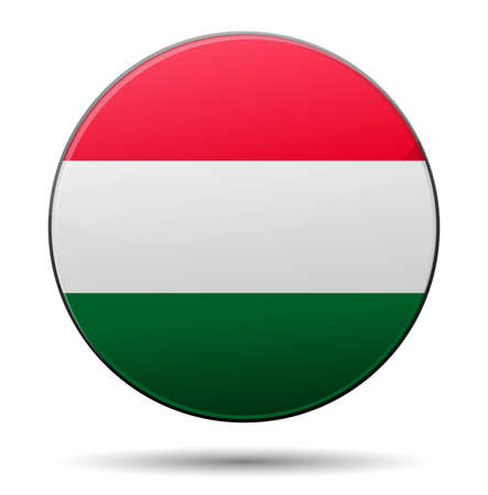 Hungary flag button with reflection and shadow. Isolated glossy flag. Vector
