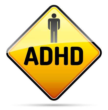 deficit: ADHD - Attention deficit hyperactivity disorder - isolated sign with reflection and shadow on white background