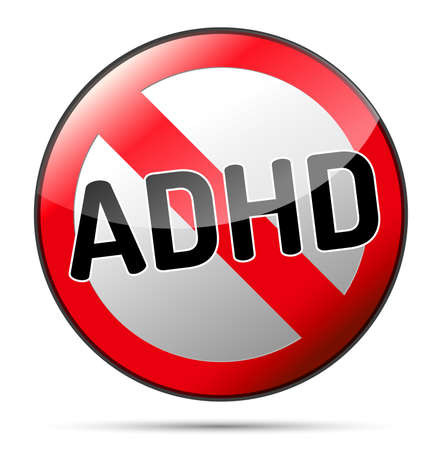 ADHD - Attention deficit hyperactivity disorder - isolated sign with reflection and shadow on white background Vektorové ilustrace