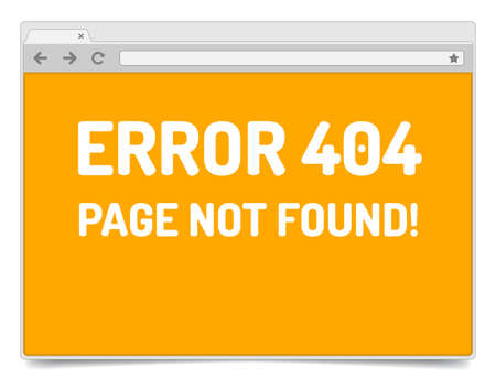 Page 404 error on opened internet browser window with shadow. Isolated browser template. Illustration