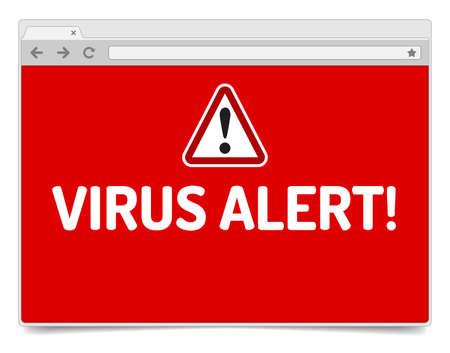 spyware: Alerta de virus en abierto la ventana del navegador de Internet con la sombra. Plantilla navegador aislada. Vectores