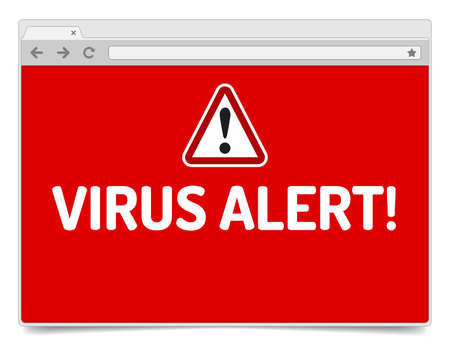 virus alert: Virus alert on opened internet browser window with shadow. Isolated browser template.