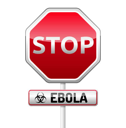 deadly danger sign: Ebola Biohazard virus danger sign with reflect and shadow on white background. Isolated warning symbol.
