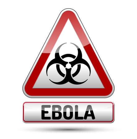 mortale: Ebola Biohazard pericolo virus segno con riflessione e ombra su sfondo bianco. Isolato simbolo di avvertimento. Vettoriali