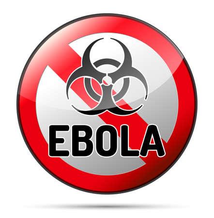 Ebola virüsü Biohazard tehlike yansıtacak ve beyaz zemin üzerine gölge ile açın. İzole uyarı sembolü.