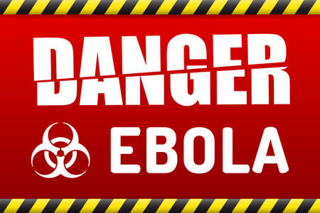 deadly: Ebola Biohazard virus danger sign with reflect and shadow on white background. Illustration