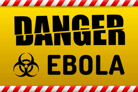Ebola Biohazard virus danger sign with reflect and shadow on white background. Illustration