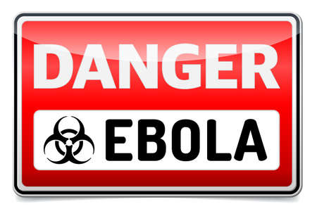 infected: Ebola Biohazard virus danger sign with reflect and shadow on white background. Illustration
