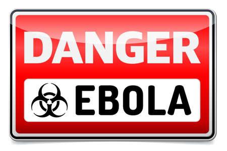 riesgo biologico: Peligro virus Ebola Biohazard con reflexionar y sombra sobre fondo blanco.