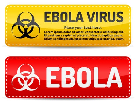 deadly danger sign: Ebola Biohazard virus danger sign with reflect and shadow on white background. Illustration