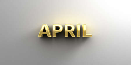 April month gold 3D quality render on the wall background with soft shadow. photo