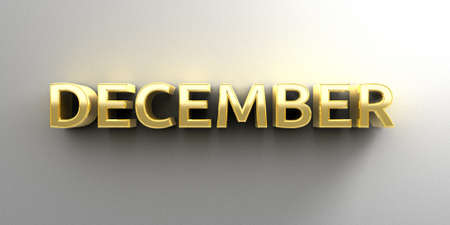December month gold 3D quality render on the wall background with soft shadow. photo