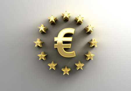 Euro sign with stars - gold 3D quality render on the wall background with soft shadow.