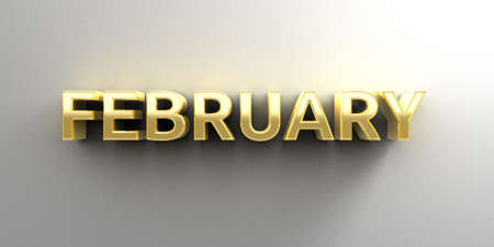 February month gold 3D quality render on the wall background with soft shadow. photo