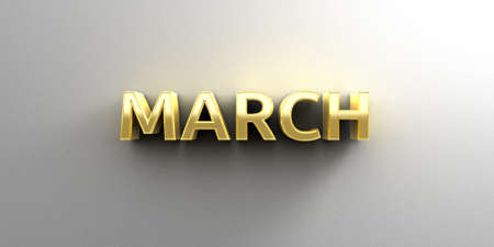 March month gold 3D quality render on the wall background with soft shadow. photo
