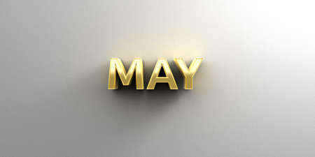 May month gold 3D quality render on the wall background with soft shadow. photo