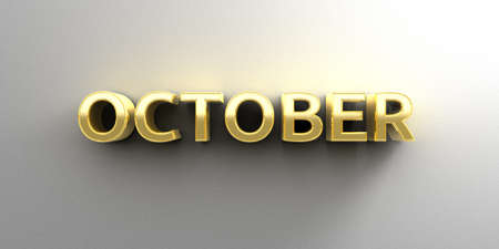 October month gold 3D quality render on the wall background with soft shadow. photo