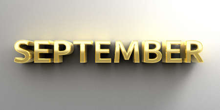 September month gold 3D quality render on the wall background with soft shadow. photo