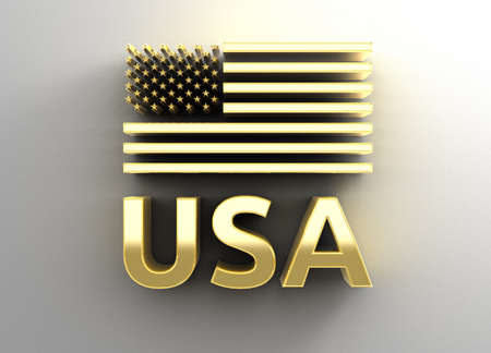USA flag - gold 3D quality render on the wall background with soft shadow. Stock Photo