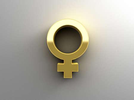 Kadın cinsiyet işaretleri - Altın 3D kaliteli yumuşak gölge ile duvar arka plan üzerinde işlemek. Stock Photo