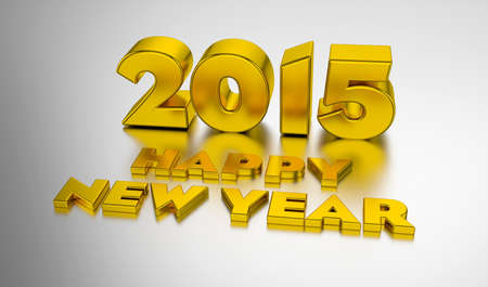 Happy New Year 2015. 3D design template on the light background with soft shadow.