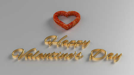 Happy Valentines Day 3D Render with gold text and red heart Stock Photo