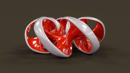 ideograph: Endless twisted torus jewel - 3D concept illustration Stock Photo