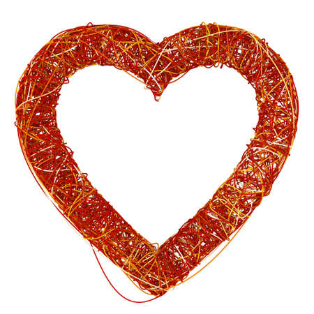 rende: Big Red Heart Made of Fibre, Isolated On White Background, 3D Rende