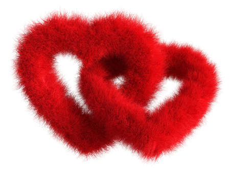 cable knit: Two joined red plush hearts on white background - Isolated 3D Render