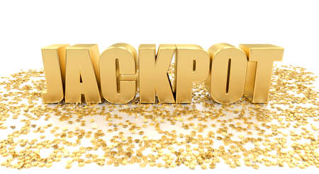 Jackpot with stars on white background - High quality 3D Render Banco de Imagens