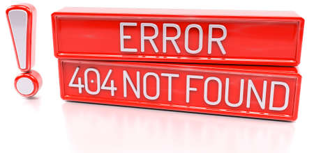 Error 404 Not Found - 3d banner, isolated on white background photo