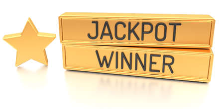 Jackpot Winner - 3d banner, isolated on white background photo