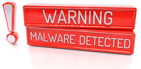 detected: Warning Malware Detected - 3d banner, isolated on white background