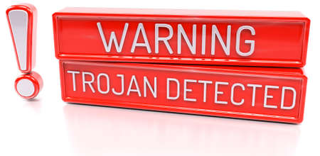 detected: Warning Trojan Detected - 3d banner, isolated on white background