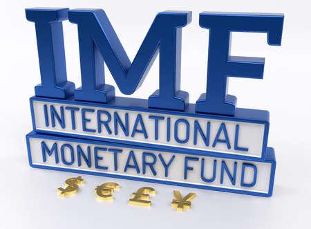 fund world: IMF - International Monetary Fund, World Bank - 3D Render Stock Photo