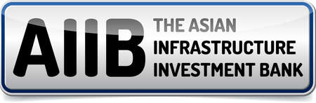 AIIB - The Asian Infrastructure Investment Bank - Illustration board with reflection and shadow on white background Illustration
