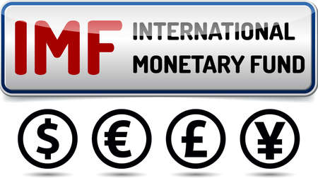 monetary: IMF International Monetary Fund - Illustration board with reflection and shadow on white background