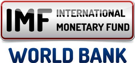 IMF Uluslararası Para Fonu - beyaz arka plan üzerinde yansıma ve gölge ile İllüstrasyon kurulu