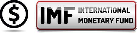 monetary: IMF International Monetary Fund - Illustration board with reflection and shadow on white background