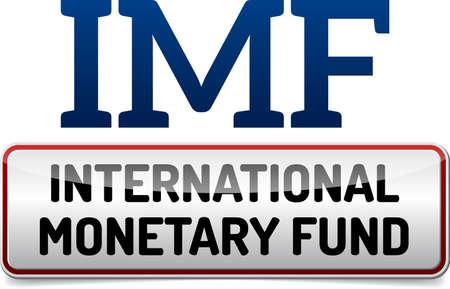 white fund: IMF International Monetary Fund - Illustration board with reflection and shadow on white background