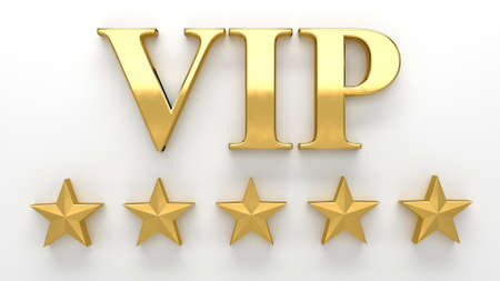 vip design: VIP - Very important person - gold 3D render on the wall background with soft shadow. Stock Photo